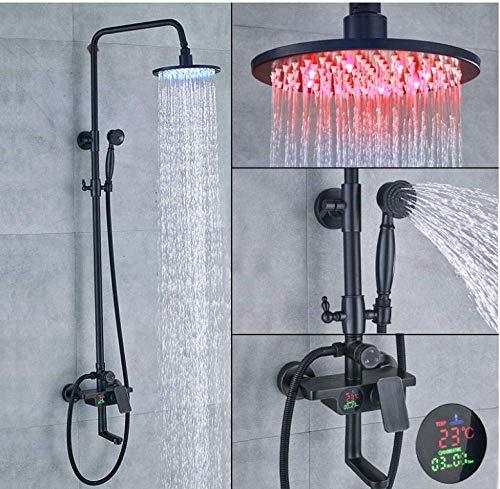 Doucheset zwart voor badkraan 8 inch douchekop LED regendouche met handdouche schakelaar met 3 functies warm en koud mengsel