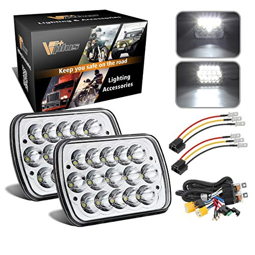 2PCS 7x6 5x7 inch LED Headlights 6054 H6054 w/ H4 Headlight Relay Harness Sealed Beam Compatible with 95-97, Tacoma 88-95 Pickup, Chevy Express Van