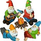 Mood Lab Miniatur-Gartenzwerge, Camping-Zwerge, 5-teilig, Figuren und Zubehör-Set