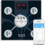 Wave Medical Advanced Bluetooth BMI Body Fat Fitness Digital Bathroom Scale with Smartphone App Smart Digital Body Composition Analyzer, Smart Scale for Home