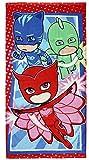 PJ Masks Pyjamasques 2200002797 Serviette De Plage, Bain, Piscine, Coton, Enfant, Yoyo, Bibou, Gluglu