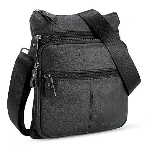 Koolertron Uomo Borsa a Spalla Borsa a Tracolla in Pelle Sintetica Tipo Messenger Bag (Nero)