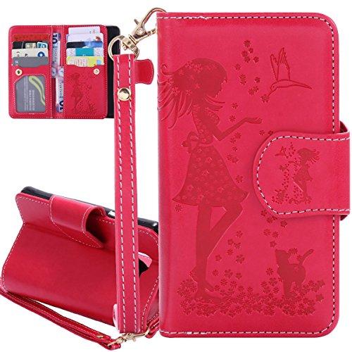 ISAKEN Compatibile con Samsung Galaxy A3 2016 Cover in PU Pelle Portafoglio Tinta Unita Custodia Libro Wallet Flip Case Nove Carte Slots Cover con Supporto di Stand/Strap/Carte Slot, Ragazza: Rossa