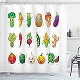 ABAKUHAUS Gemüse Duschvorhang, Lustige Kinder Cartoon, mit 12 Ringe Set Wasserdicht Stielvoll Modern Farbfest & Schimmel Resistent, 175x200 cm, Mehrfarbig