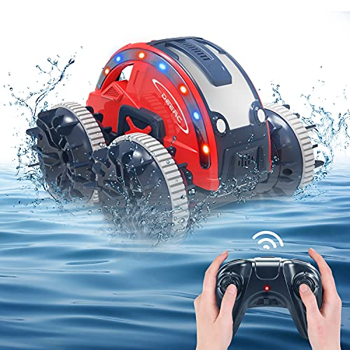 DEERC K-08 Amphibious Remote Control Car RC Cars for Boys, 2.4Ghz 4WD RC Boat with Replaceable Tires LED Lights,Waterproof All Terrain Stunt Car Toys for Adults 2 Rechargeable battery Water Beach Pool