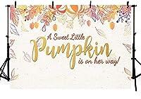 新しい甘い小さなカボチャの女の子のベビーシャワーの写真の背景小道具カエデの葉花の王女のベビーシャワーのパーティーの装飾ゴールドフォトスタジオブースの背景バナー7x5ft