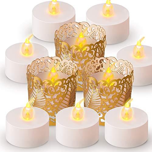 ANZOME LED Kerzen mit Gold Papier Teelichthalter, 30 pcs Flameless teelichter led Dekoration für halloween deko, Hochzeit, Party, Home Decor - 30 flammenlose kerzen, 30 Teelichthalter