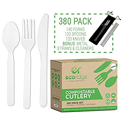 Ecoridge Disposable Compostable Cutlery Silverware Utensils Set - 380pc (140 Forks, 120 Spoons, 120 Knives) - Eco Biodegradable Plastic Utensils Compostable Cutlery Heavy Duty Fork Spoon Knife Set