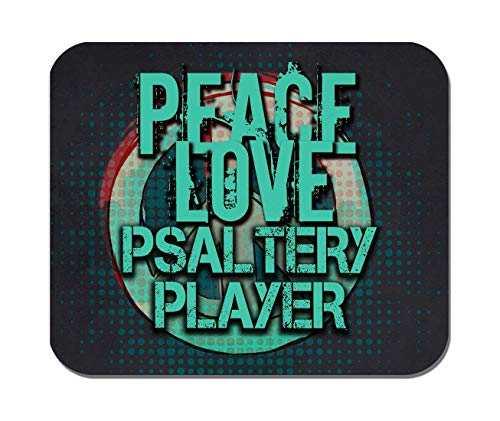 Makoroni - Peace Love Psaltery Player Music- Non-Slip Rubber - Computer, Gaming, Office Mousepad