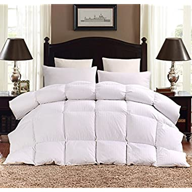 ROSECOSE Luxurious Heavy Goose Down Comforter King Duvet Insert Classic Stripe All Seasons 1200 Thread Count 750+ Fill Power 100% Cotton Hypo-allergenic With Tabs (King, Classic Stripe)