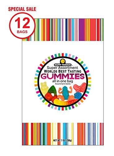 Happy Yummies Worlds Best Tasting Gourmet Gummies All in One Assortment 7oz (12 Pack)