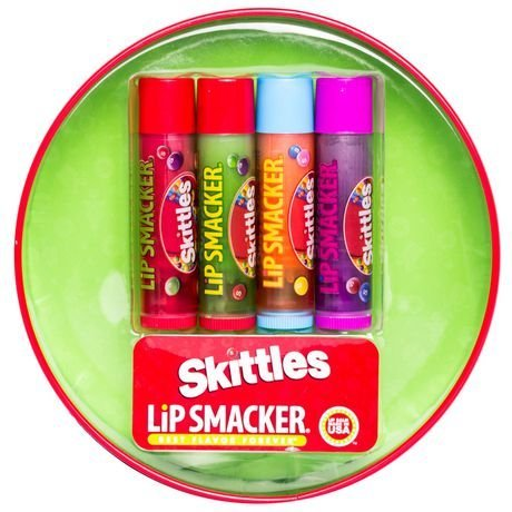 Lip Smacker Skittles best flavor forever 4 Piece Lip Balms Collectors with Tin can