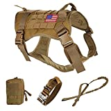 Pruk Tactical Dog Harness Set, K9 Dog Harness Military Dog Vest Collar Leash with Molle Pouch and Patch, No Pull Tactical Dog Vest for Large Dog, Service Dog Harness for Training Hiking(Khaki, M)