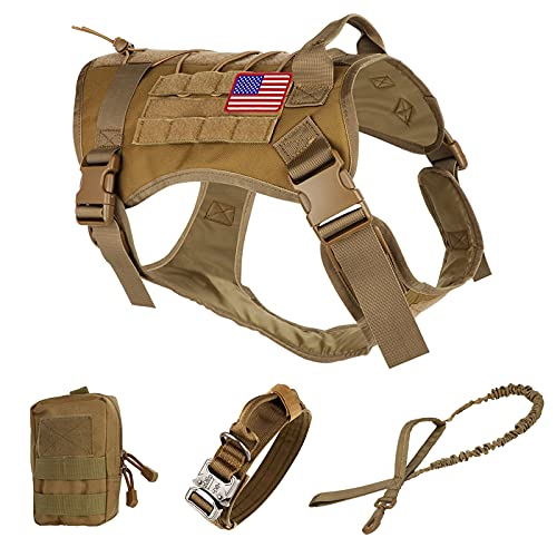Pruk Tactical Dog Harness Set, K9 Dog Harness Military Dog Vest Collar Leash with Molle Pouch and Patch, No Pull Tactical Dog Vest for Large Dog, Service Dog Harness for Training Hiking(Khaki, L)