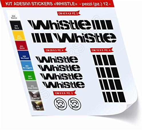 Adesivi Bici Whistle Kit Adesivi Stickers 12 Pezzi -Scegli SUBITO Colore- Bike Cycle pegatina cod.0432 (Nero cod. 070)
