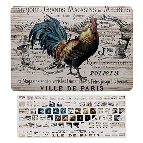 For MacBook Air 13 Inch Case A1466, A1369 Hard Shell Cover for 13 Inch MacBook Air 13 Case & Keyboard Cover, Vintage Paris Rooster Laptop Protective Shell Set