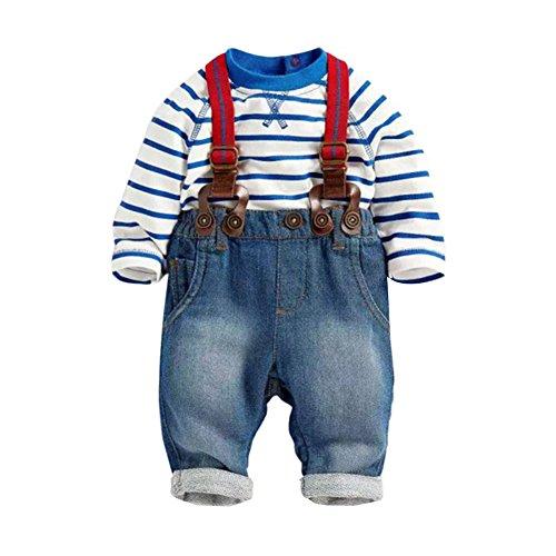 ESHOO Baby-Kleinkind-T-Shirt Top + Overalls 2PCS Kleidungs-Satz, Blau, 0-8 Monate