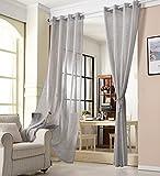 WOLTU Cortina con Ojales Transparente Aspecto para Ventana Cortina Decorativo para Salón Habitación Infantil Dormitorio 140x245 cm, Gris Oscuro(1 Pieza) VH5861dgr