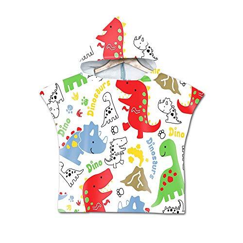 Telo Mare Poncho con Cappuccio per Bambini, DOTBUY Assorbente Asciugamano da Bagno in Microfibra,Asciugamano con Stampa di Dinosauri,per Bagno,Nuoto,Spiaggia (60x80cm,D)