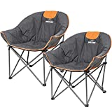 Suntime Sofa Chair, Oversize Padded Moon Leisure Portable Stable Comfortable Folding Chair for Camping, Hiking, Carry Bag(2 Pack)