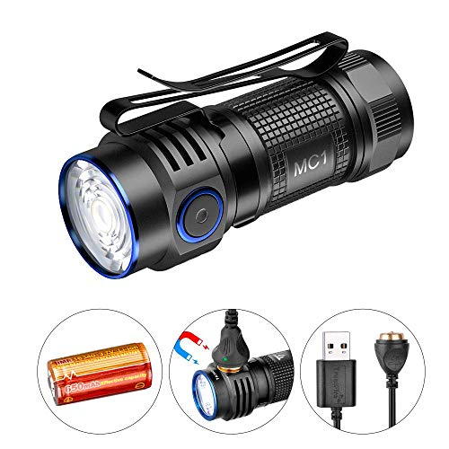 TrustFireMC1 1000ルーメン 小型軽量 充電式懐中電灯 CREE XP-L HI LED IPX8防水充電式LEDフラッシュライト4段階切替ハンディライト防災用 LEDライトアウトドア 充電池 ストラップ 磁気充電ケーブル付き