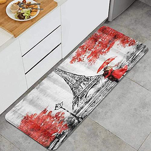 ZORMIEY Alfombras Cocina Lavable Antideslizante Alfombrilla de Goma Alfombra de Baño Alfombrillas Cocina 45x120cm,Elegante París Torre Eiffel Pareja con Paraguas Rojo Árboles