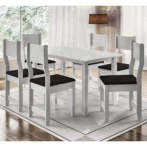 Conjunto de Mesa com 6 Cadeiras Dallas Indekes Branco