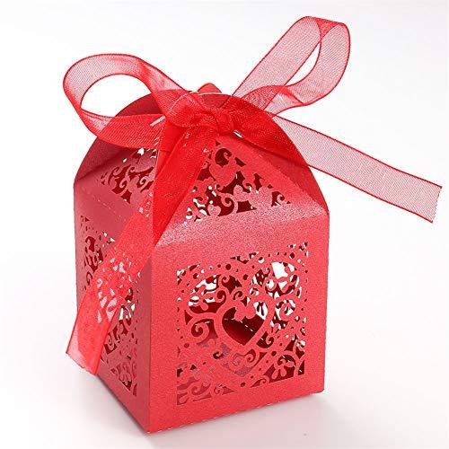 UNHO 25 Piezas Caja Papel para Boda Caja de Regalo para Caramelos Bombones Dulces Galletas Recuerdos Ideal para Boda Cumpleaños Fiesta Comunión Bautizo Color Rojo