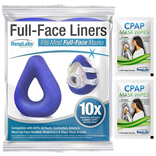 RespLabs CPAP Mask Liners for Full Face Masks - Moisture Wicking, Pressure Reducing, Comfort Enhancing. Super Soft, Washable, Cotton Covers - Universal 10 Pack.