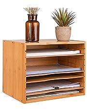 Bambusowy organizer na biurko segregator plików A4 stojak na dokumenty 5-poziomowa półka na listy z 4 regulowanymi półkami na materiały biurowe 36 x 25 x 26 cm
