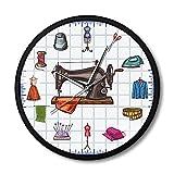 Arte de Pared de Cocina The Label Máquina de Coser Reloj de Pared Diseño...