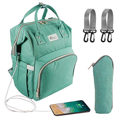 Baby Diaper Bag Backpack, Dongzhur Multi-Function Waterproof Nappy Bags, Travel Backpack with USB Charging Port for Mom Students Men Girls Boys (Large Capacity, Durable and Stylish) (Green)