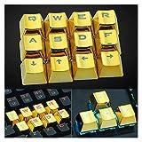 Conjunto de Llaves 12pcs Game Office Durable Mecánico Keycap KeyCap Universal Remoción USB Perfil bajo Perfil Accesorio Reemplazo Chapado en Oro Retroiluminado Teclado keycaps (Color : Gold)