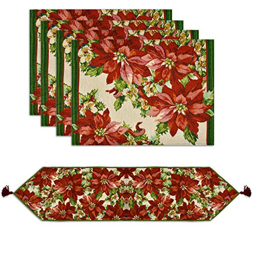 Christmas Table Runner with 4 Matching Placemats Set Elegant Poinsettia Design Tapestry Rectangle Table Mats and Runners with Tassels for Xmas Winter Holiday Place Setting Decorations Dinner Parties
