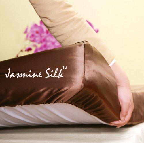 Jasmine Silk Charmeuse Drap-housse 100 % soie de mûrier 19 mm (moka) – Double 140 cm x 190 cm + 26 cm