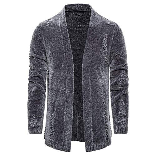 Moda Hombres Abrigo Otoño Invierno Color Sólido Punto Raglan Gargantilla Broken Hole Suéter Cardigan