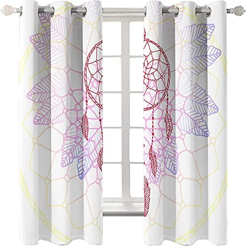 KLily Cortina 3D De Plumas De Fantasía Blanca Cortinas para El Hogar Engrosadas De Impresión Digital Adecuado para Dormitorio, Balcón, Cortinas De Jardín Que Se Pueden Lavar