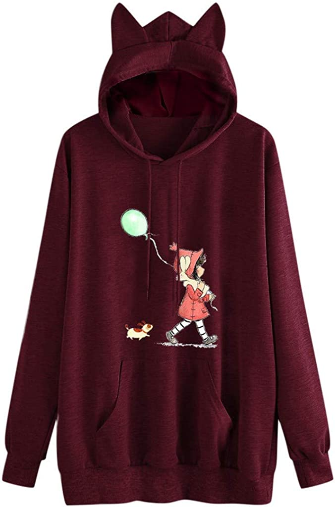 Misaky Hoodies for Women Autumn Winter Cartoon Girl Print Pocket Long Sleeve Pullover Hoodie Sweatshirt Jumper