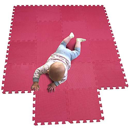 MQIAOHAM Esterilla Puzzle de Fitness-18 losas de EVA Espuma Alfombrilla Protectora Protección para el Suelo para máquinas de Deporte y gimnasios sobre el Piso Fácil de Limpiar Rojo 109