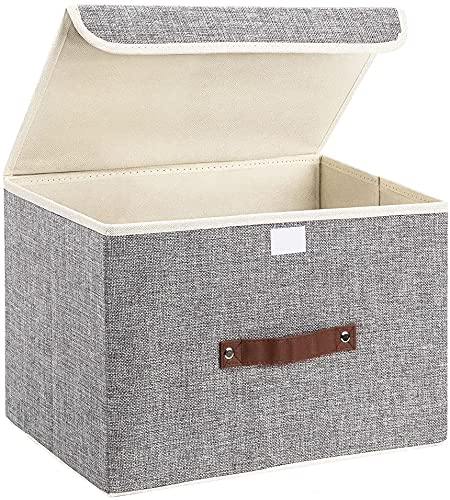 Collapsible Storage Box with Lid for home, office, closet, bedroom, living room 38 x 25 x 25 cm