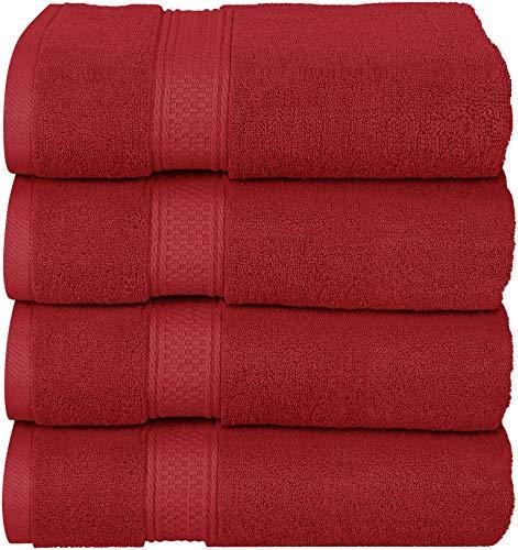 Utopia Towels Luxus-Badetücher, 4er-Pack, 68 x 137 cm, Hotel- und Spa-Handtücher (Burgund)