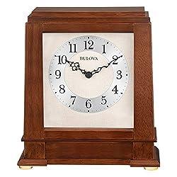 Bulova Kingston Strike and Chime Mantel Clock, Warm Walnut