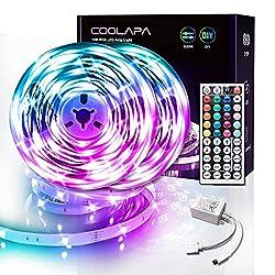 Modes de couleur différents: Vous pouvez régler librement la luminosité du ruban. Il offre 28 modes dynamiques à choisir, y compris le mode rapide, lent, sautant, clignotant, etc. Contrôlé par la télécommande infrarouge: Le produit comprend une téléc...