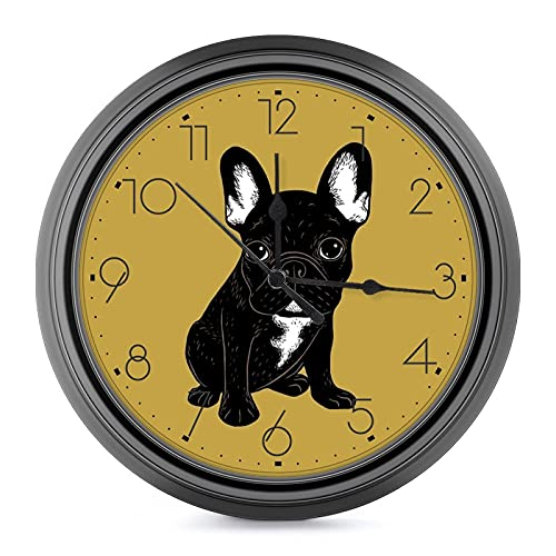 9.6 Inch Silent Round Wall Clock Battery Operated Non Ticking Retro Decorative Wall Hanging Clock for Living Room Kitchen Bedroom Office Wall Art,Brindle French Bulldog