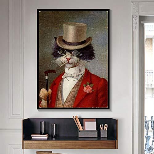 tzxdbh Schwarz und Weiß Noble Hund Katze Wolf Fuchs Wandkunst Poster und Drucke Tier trägt einen Hut Feder Leinwand Malerei Wohnkultur