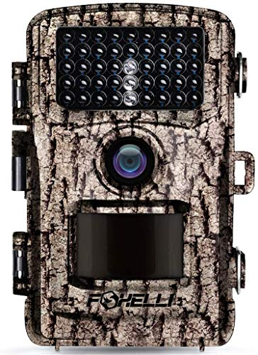"Foxelli Trail Camera – 14MP 1080P Full HD Wildlife Scouting Hunting Camera with Motion Activated Night Vision, 120° Wide Angle Lens, 42 IR LEDs and 2.4"" LCD Screen, IP66 Waterproof Game Camera"