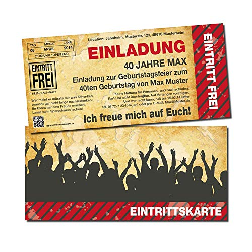 Einladung Einladungskarte Geburtstag Eintrittskarte (10 Stück) individuell mit Druck