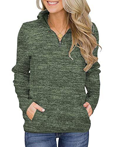 Damen Langarmshirt Sweatshirt Reißverschluss Pullover Casual Oversize Lose Shirt Oberteil mit Taschen Tops Armeegrün L