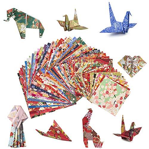 MOOKLIN ROAM Niños Color Kit de Origami, 60pcs Papel para Papiroflexia, Archivo de Origami de Soltero Cara para Niños Niñas y Adultos en 60 Colores Variados 3 Tamaños, Proyectos de Artes y Oficios