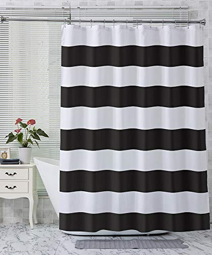AmazerBath Fabric Shower Curtain, Black Stripe Polyester Fabric Shower Curtains with 2 Heavy Duty Clear Stones, Decorative Curtains for Bathroom Hotel Quality, 72 X 72 Inches